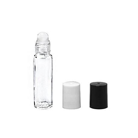 10 ml Roll-on Flasche klar-Klappe Weiß/Schwarz